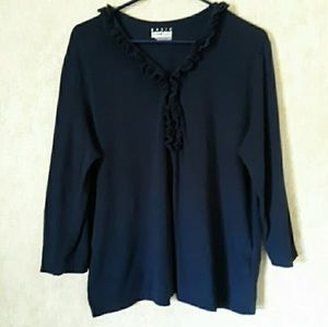 Navy blue long sleeve v neck top size XL